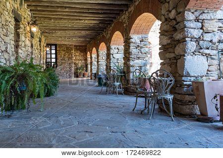 Rustic Stone Patio at historic Spanish Mission