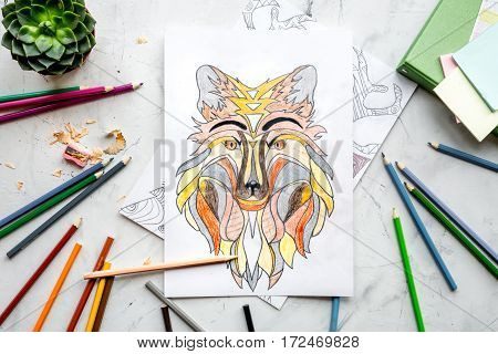 coloring picture for adults on stone background top view.