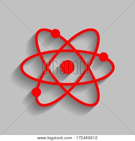 Atom sign illustration. Vector. Red icon with soft shadow on gray background.