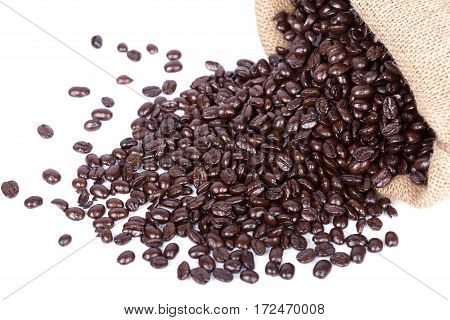 Coffee beans in burlap sack isolated on white background