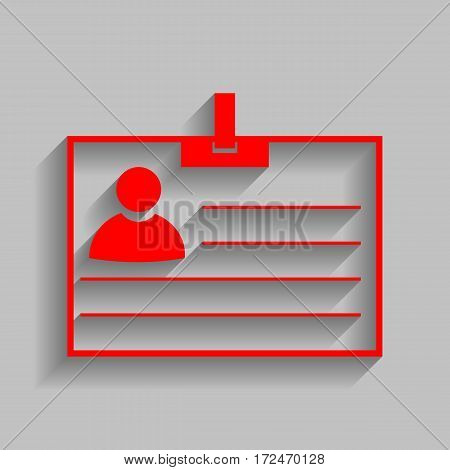 Id card sign. Vector. Red icon with soft shadow on gray background.