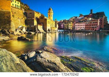 Vernazza Village, Church, Rocks And Sea Harbor On Sunset. Cinque Terre, Ligury, Italy