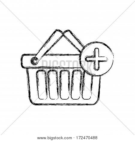 blurred silhouette shopping basket with two handle and plus sign vector illustration
