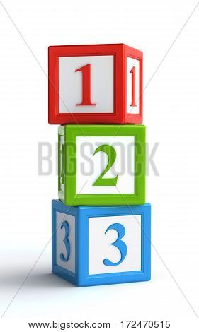 numbered toy blocks over the white background (3d rendering)
