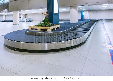 Empty Conveyor Belt For Carrying The Passenger Luggage Or Baggage Claim At Airport