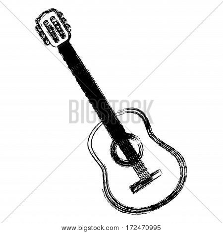 blurred silhouette acoustic musical guitar instrument vector illustration