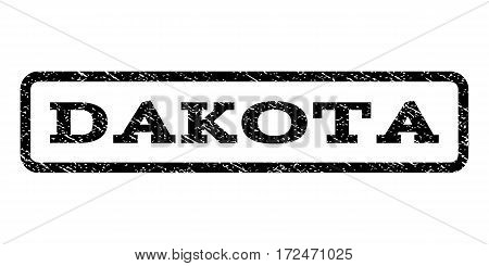 Dakota watermark stamp. Text tag inside rounded rectangle frame with grunge design style. Rubber seal stamp with dirty texture. Vector black ink imprint on a white background.