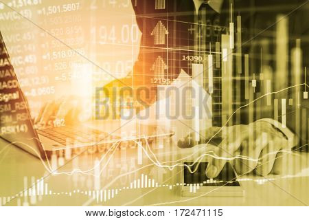 Business Man On Digital Stock Market Financial Background. Digital Business And Stock Market Financi