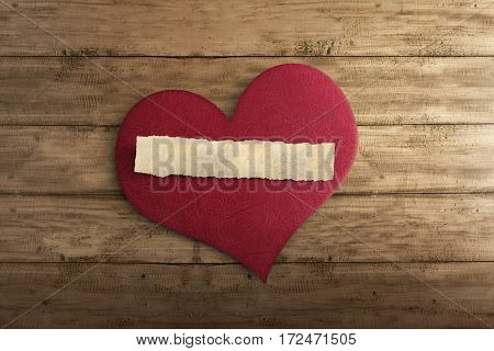 Blank Ripped Paper On Red Heart Shape