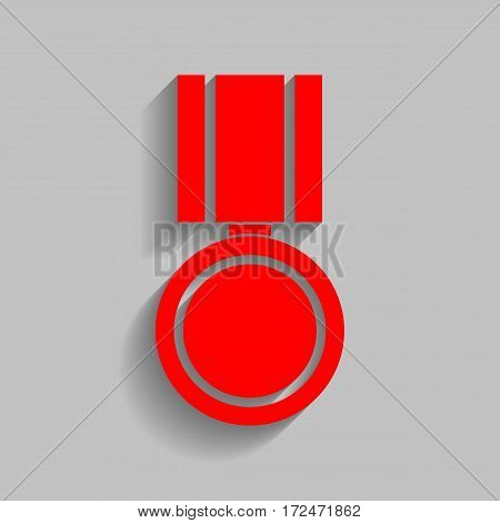 Medal sign illustration. Vector. Red icon with soft shadow on gray background.
