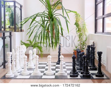 Bis chess set in a hotel