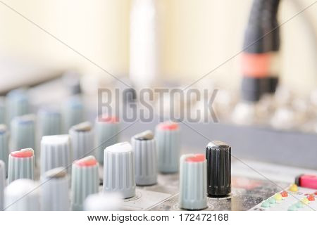 Close up audio control desk