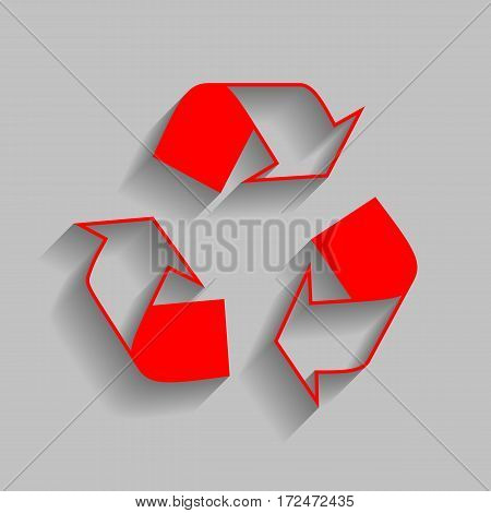 Recycle logo concept. Vector. Red icon with soft shadow on gray background.