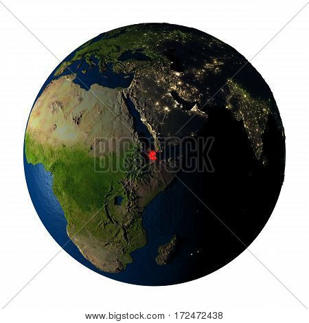 Djibouti In Red On Earth Isolated On White