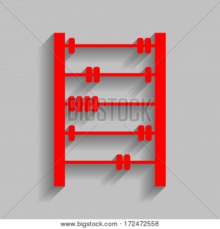 Retro abacus sign. Vector. Red icon with soft shadow on gray background.