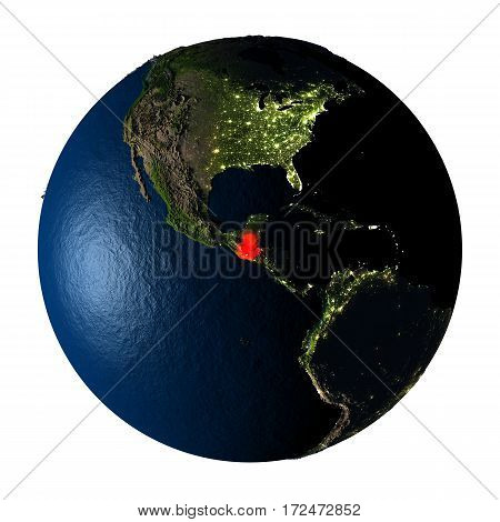 Guatemala In Red On Earth Isolated On White