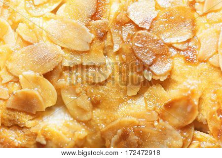 Macro photo of almond splitters covered with candied sugar.
