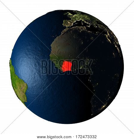 Ivory Coast In Red On Earth Isolated On White