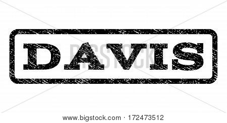 Davis watermark stamp. Text caption inside rounded rectangle with grunge design style. Rubber seal stamp with dirty texture. Vector black ink imprint on a white background.