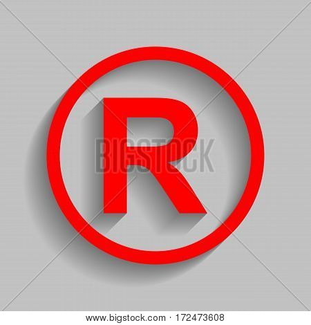 Registered Trademark sign. Vector. Red icon with soft shadow on gray background.