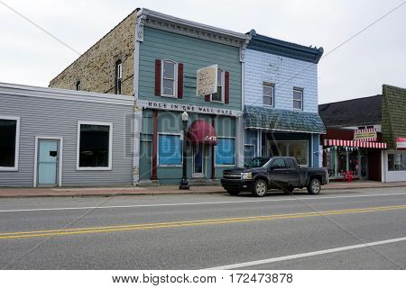 MANCELONA, MICHIGAN / UNITED STATES - NOVEMBER 27, 2016: Vacant store fronts on State Street in downtown Mancelona.