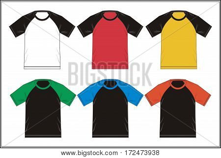 Colorful raglan t shirt design template, vector.