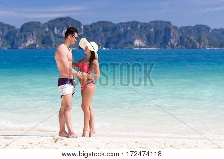 Young People On Beach Summer Vacation, Couple Lovers Embracing Seaside Blue Water Ocean Holiday Travel