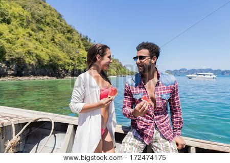 Young Couple Boating Summer Vacation, Man And Woman Sailing Yacht Sea Ocean Holiday Travel