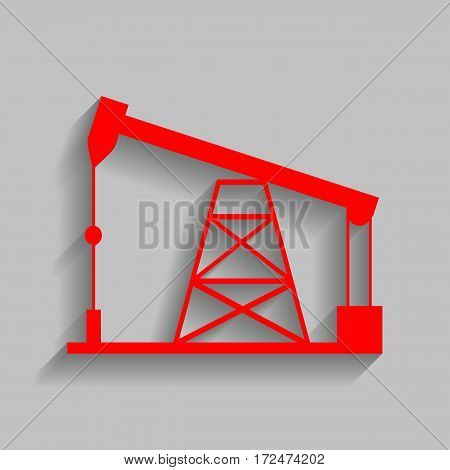 Oil drilling rig sign. Vector. Red icon with soft shadow on gray background.