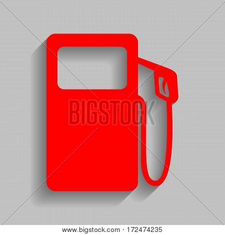 Gas pump sign. Vector. Red icon with soft shadow on gray background.