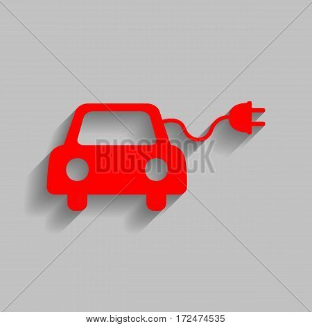 Eco electric car sign. Vector. Red icon with soft shadow on gray background.