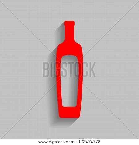 Olive oil bottle sign. Vector. Red icon with soft shadow on gray background.