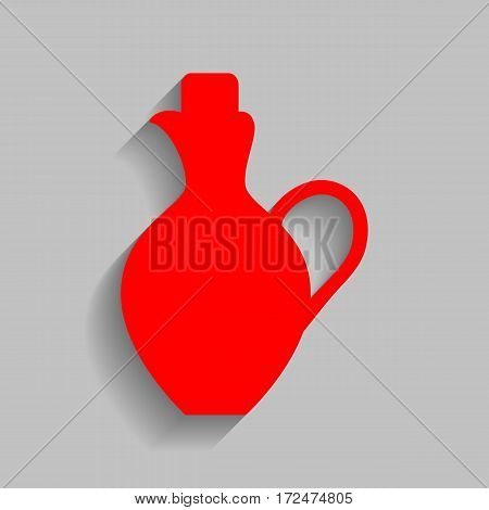 Amphora sign illustration. Vector. Red icon with soft shadow on gray background.