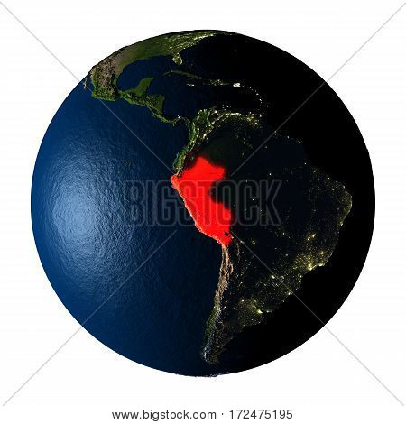 Peru In Red On Earth Isolated On White