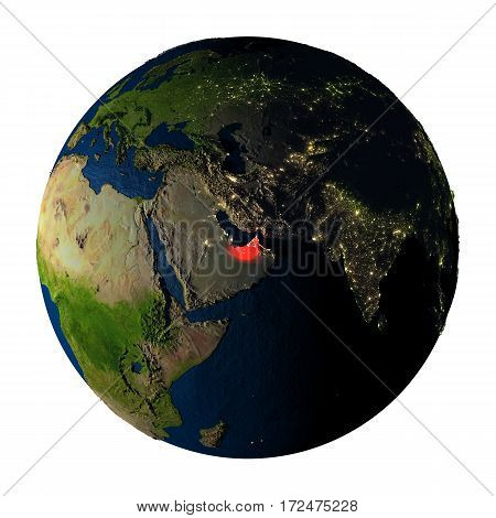 United Arab Emirates In Red On Earth Isolated On White