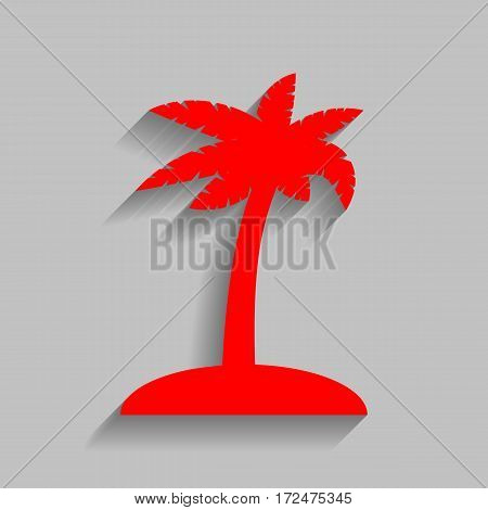 Coconut palm tree sign. Vector. Red icon with soft shadow on gray background.