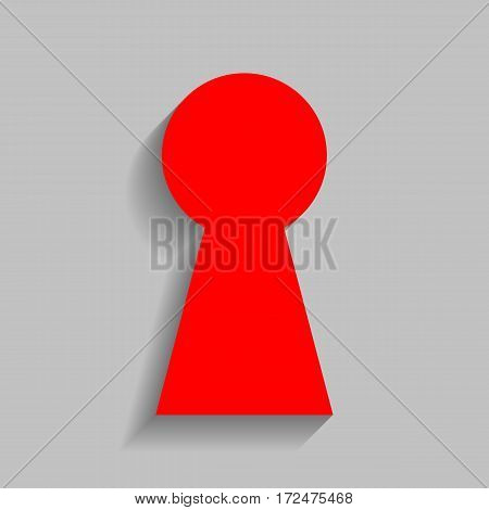 Keyhole sign illustration. Vector. Red icon with soft shadow on gray background.