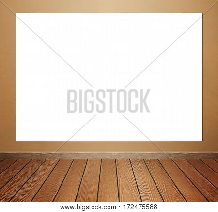 Empty Poster In Room Interior With Concrete Wall And Floor Background