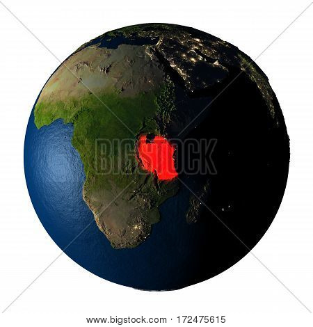 Tanzania In Red On Earth Isolated On White
