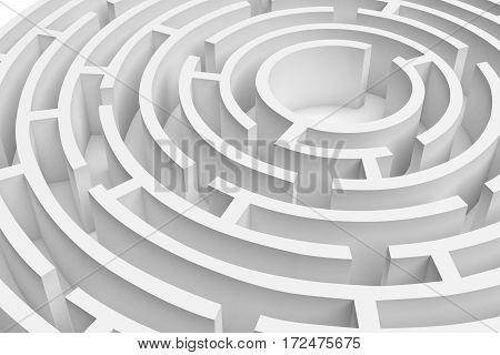 3D rendering of the white round maze consruction approximated. 3D render. Concept design. Abstract art