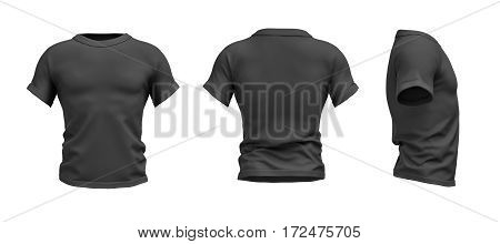 3d rendering of a black T-shirt shaped as a realistic male torso in front, side and back view. Ads and promotions. Sports and fitness. Fashion sales.