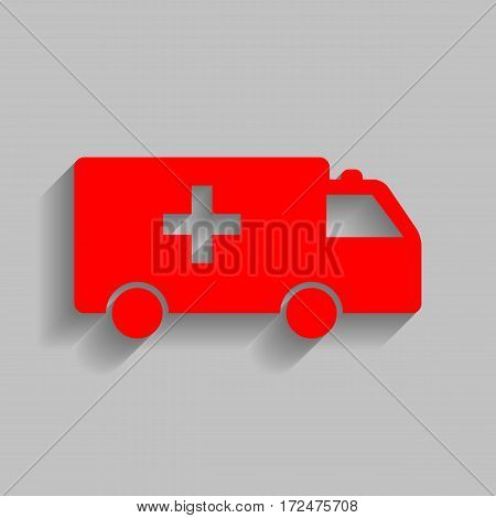 Ambulance sign illustration. Vector. Red icon with soft shadow on gray background.