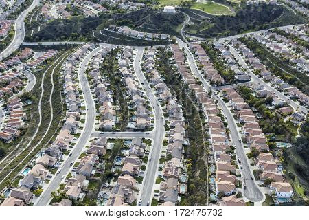 Aerial view of suburban Stevenson Ranch bedroom community in Los Angeles County, California.