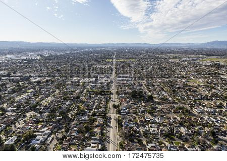 Aerial view of suburban sprawl in the San Fernando Valley portion of Los Angeles, California.