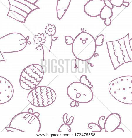 Doodle of easter element vector flat collection stock