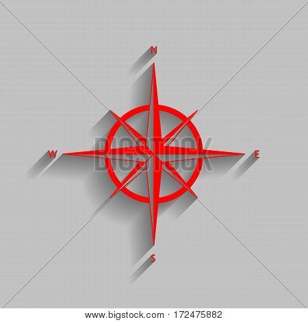 Wind rose sign. Vector. Red icon with soft shadow on gray background.