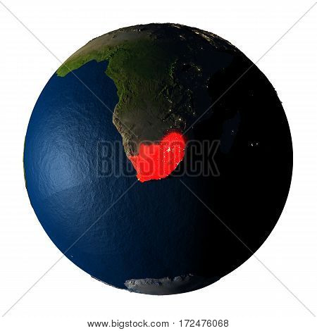 South Africa In Red On Earth Isolated On White