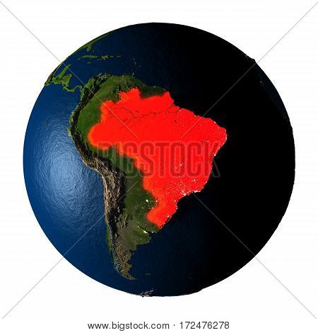 Brazil In Red On Earth Isolated On White
