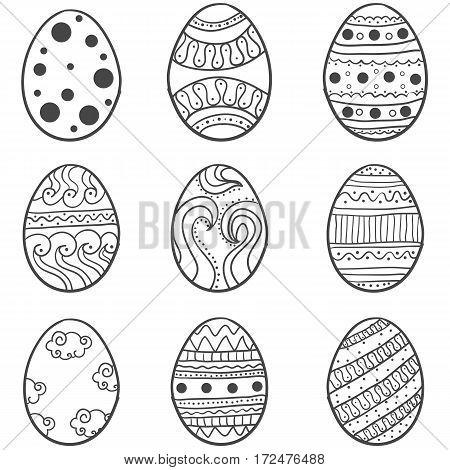 Doodle eadter egg style set vector illustration