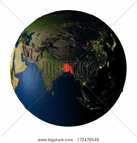 Bangladesh In Red On Earth Isolated On White
